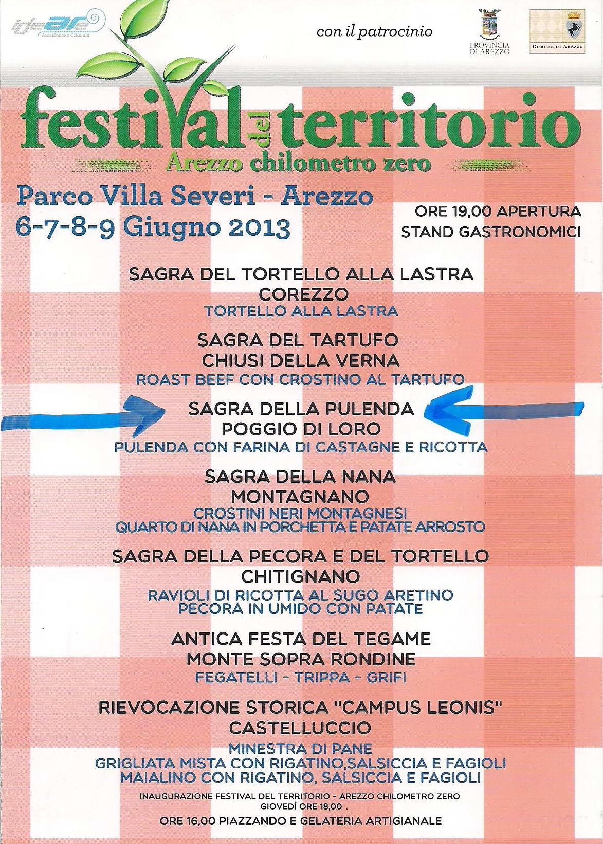 locandina Festival del Territorio - Arezzo chilometro zero